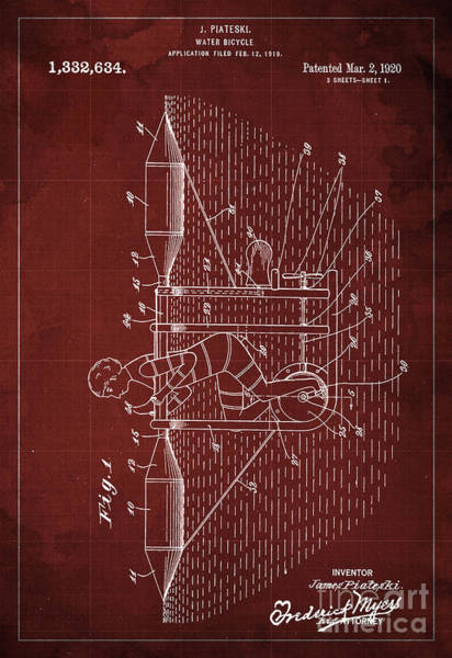 Invention Painting - Water Bycicle Patent Blueprint Year 1920 by Drawspots Illustrations