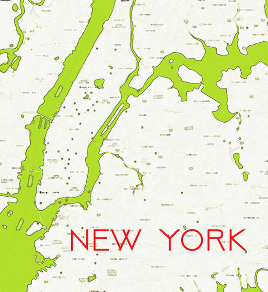 Painting - Watercolor Modern Map Of Upper New York by Celestial Images