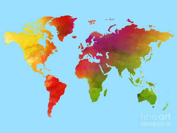 Painting - Watercolor World Map by Celestial Images