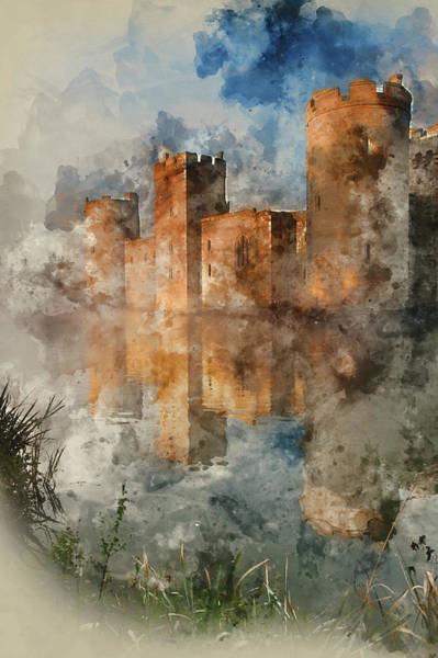 Bodiam Photograph - Watercolour Painting Of Medieval Castle At Sunrise by Matthew Gibson