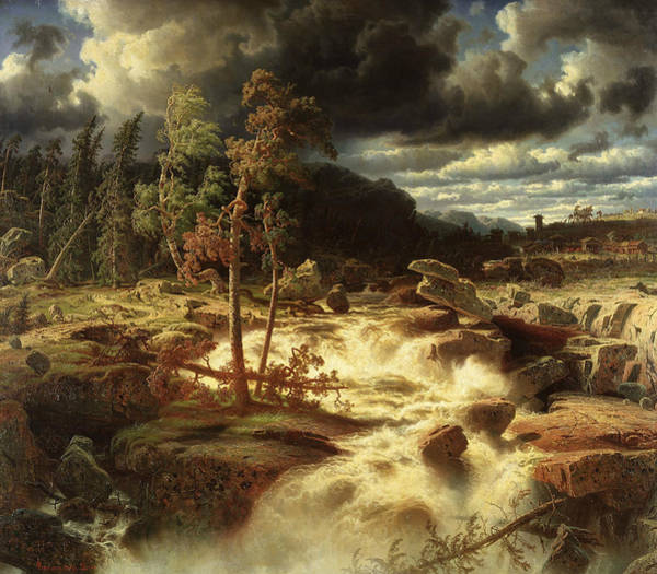 Swedish Painters Wall Art - Painting - Waterfall In Smaland  by Marcus Larson