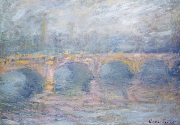 Foggy Painting - Waterloo Bridge London At Sunset by Claude Monet