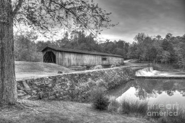 Photograph - Watson Mill Covered Bridge 7 B W Landscape Art by Reid Callaway