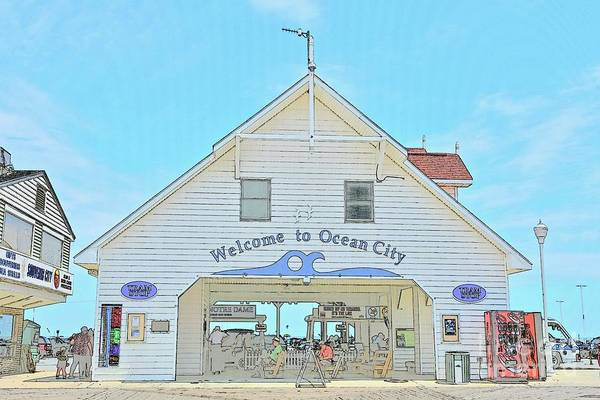 Welcome Sign Digital Art - Welcome To Ocean City by Jeramey Lende