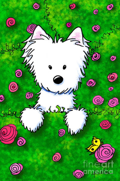 Wall Art - Drawing - Westie In Roses by Kim Niles