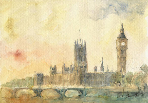 Wall Art - Painting - Westminster Palace And Big Ben London by Juan Bosco