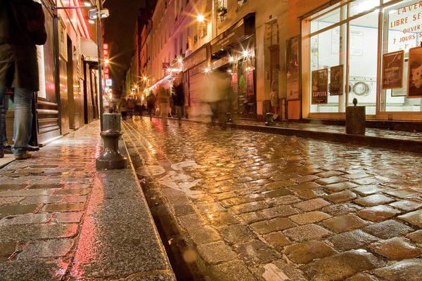 Shutter Speed Photograph - Wet Paris Street by Matthew Bamberg