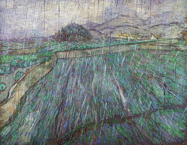 Painting - Wheat Field In Rain by Vincent van Gogh