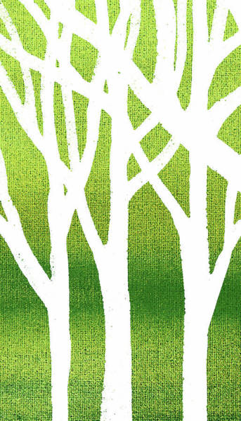 Into The Woods Wall Art - Painting - White Abstract Forest Green Background Triptych A 1of3  by Irina Sztukowski