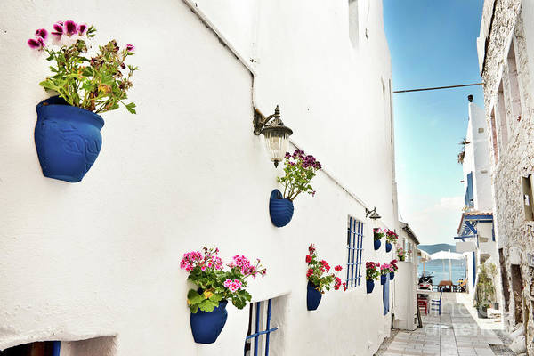 Mediterranean Photograph - White And Blue Street by Delphimages Photo Creations