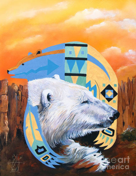 Painting - White Bear Goes Southwest by J W Baker