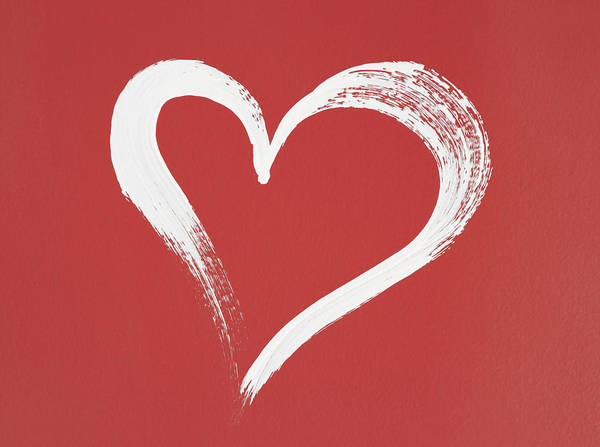 Brush Stroke Wall Art - Photograph - White Heart Painted On Red Background by GoodMood Art