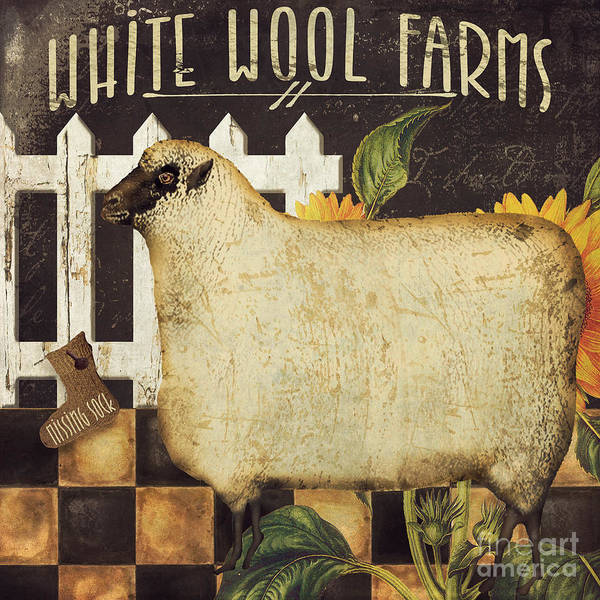 White Picket Fence Painting - White Wool Farms by Mindy Sommers