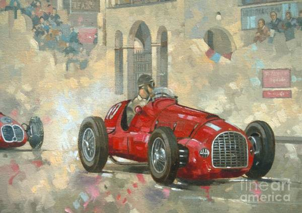Old Car Wall Art - Painting - Whitehead's Ferrari Passing The Pavillion - Jersey by Peter Miller