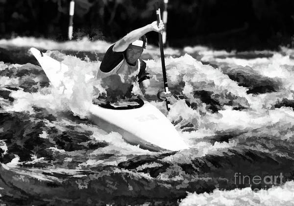 Digital Art - Whitewater Kayaker by Les Palenik
