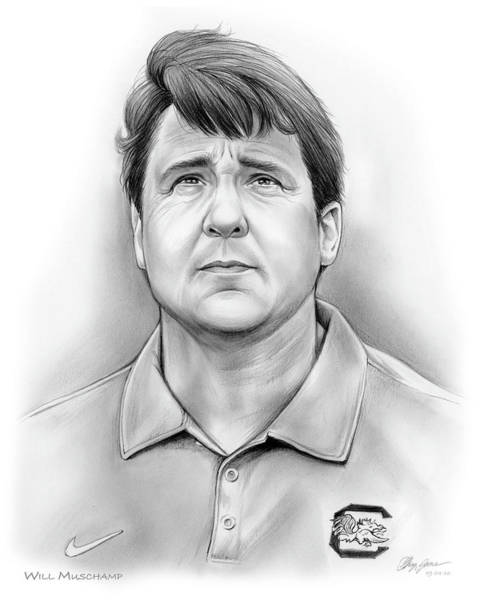 Wall Art - Drawing - Will Muschamp by Greg Joens
