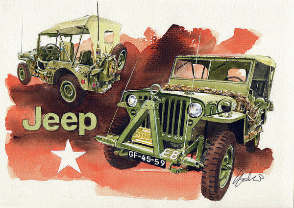 Jeep Wall Art - Painting - Willys Jeep Mb by Yoshiharu Miyakawa