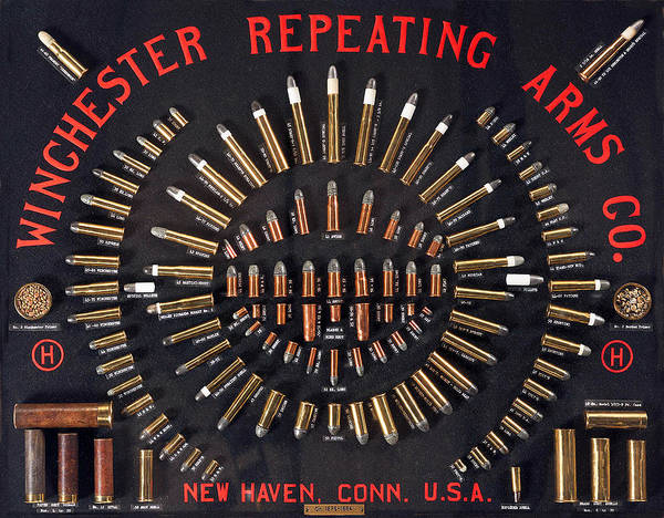 Upland Wall Art - Painting - Winchester Repeating Arms Cartridge Board by Unknown