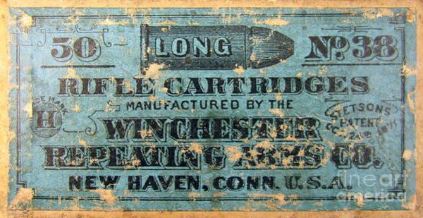 Rifles Photograph - Winchester Rifle Cartridges Sign by Jon Neidert