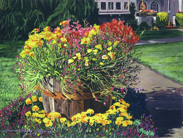 Containers Painting - Winebarrel Garden by David Lloyd Glover