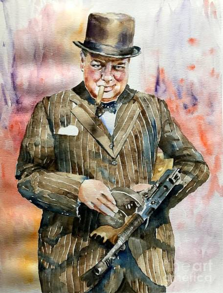 Smiling Painting - Winston Churchill Portrait by Suzann Sines