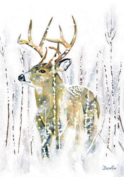 Stalk Wall Art - Painting - Winter Deer by Antony Galbraith