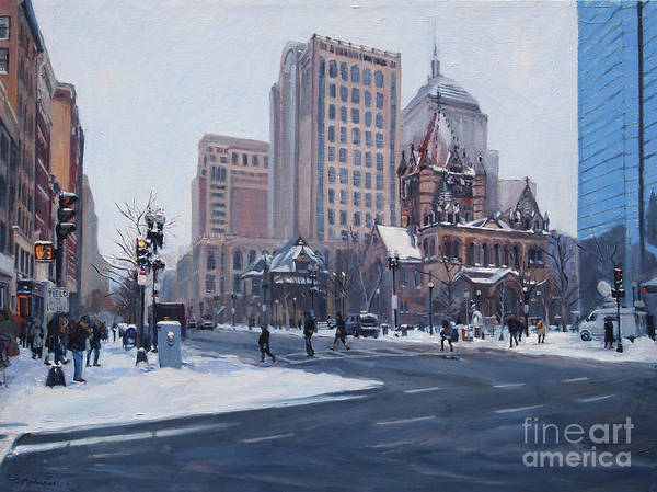 Painting - Winter In Copley Square, Boston Ma by Deb Putnam