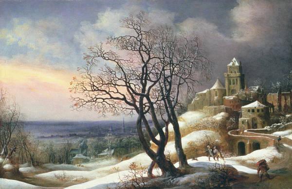 Fortified Wall Art - Painting - Winter Landscape by Daniel van Heil