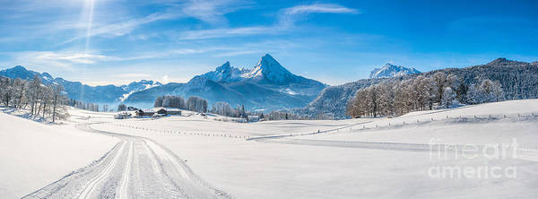 Wall Art - Photograph - Winter Landscape In The Bavarian Alps With Watzmann Massif, Germ by JR Photography