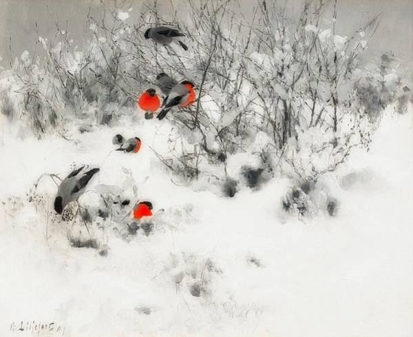Wall Art - Painting - Winter Landscape With Bullfinches by Bruno Liljefors