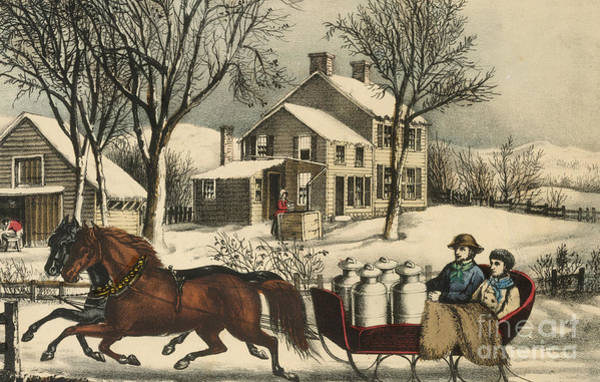 Churn Painting - Winter Morning In The Country by Currier and Ives