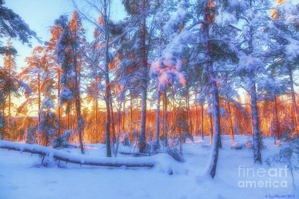 Painterly Digital Art - Winter Morning by Veikko Suikkanen