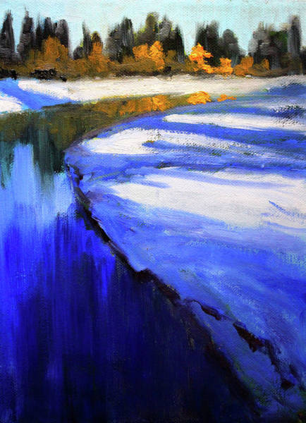 Central Oregon Wall Art - Painting - Winter River by Nancy Merkle