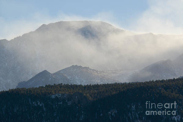 Photograph - Fog And Blowing Snow On Pikes Peak Colorado by Steve Krull