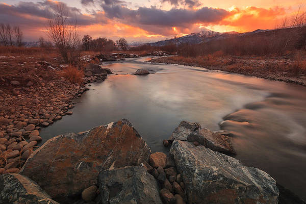 Photograph - Winter Sunset At The Provo River. by Johnny Adolphson