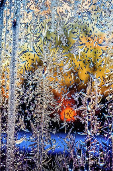 Evening Wall Art - Photograph - Winter Window Frosting Patterns by Viktor Birkus