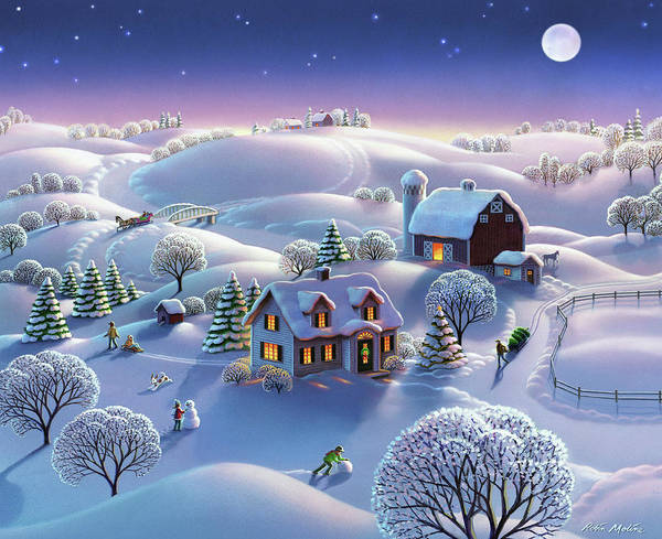 Wall Art - Painting - Winter Night  by Robin Moline