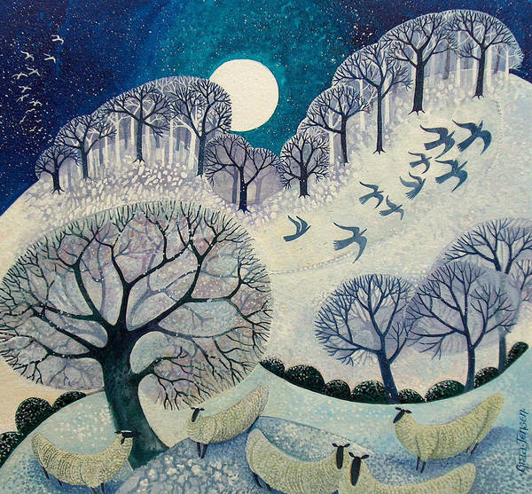 Full Moon Painting - Winter Woolies by Lisa Graa Jensen