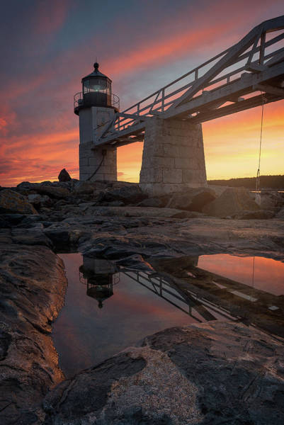 Port Clyde Photograph - Winter's Final Sunset - Marshall Point Light by Jeff Bazinet