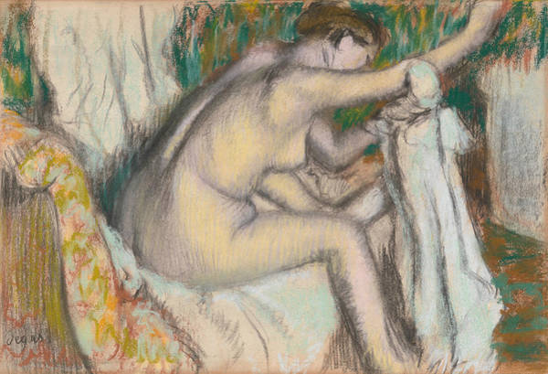 Drawing - Woman Drying Her Arm by Edgar Degas