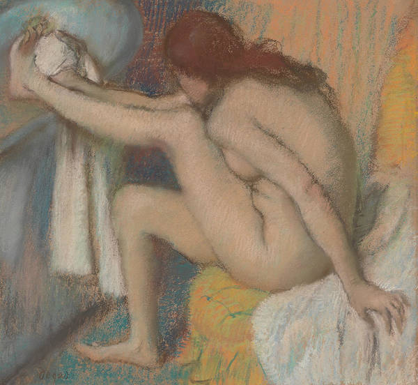 Pastel - Woman Drying Her Foot by Edgar Degas