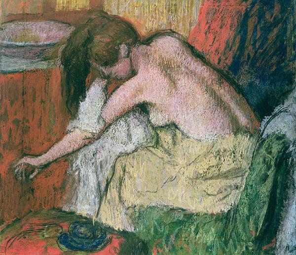 1834 Wall Art - Pastel - Woman Drying Herself by Edgar Degas