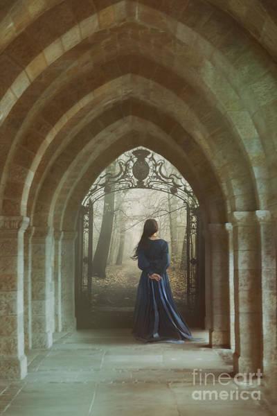 Photograph - Woman In Blue Dress Walking In Hallway  by Sandra Cunningham