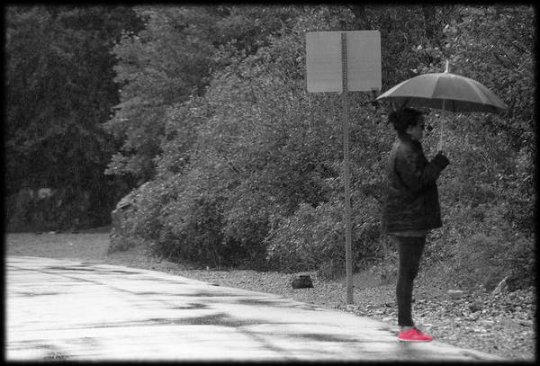 Photograph - Woman In Fuchsia Sneaker Selective Coloring by Colleen Cornelius