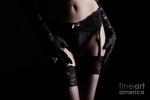 Garter Photograph - Woman In Laced Lingerie by Jelena Jovanovic