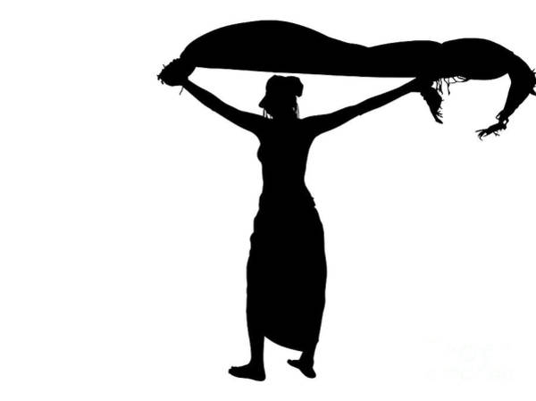 Digital Art - Woman Silhouette With Sarong by Benny Marty