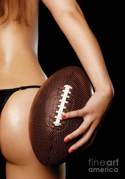Butt Photograph - Woman With A Football by Oleksiy Maksymenko