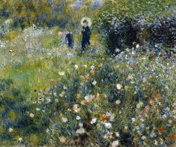 Painting - Woman With A Parasol In A Garden by Auguste Renoir