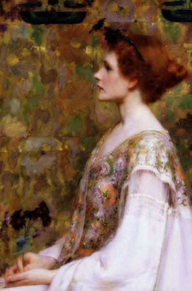 Wall Art - Painting - Woman With Red Hair by Albert Herter