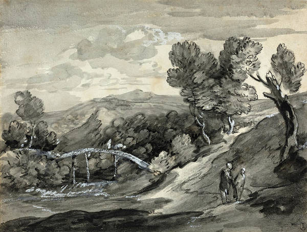 Drawing - Wooded Upland Landscape With A Bridge by Thomas Gainsborough